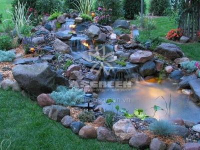 Tiểu cảnh thác nước sân vườn hoàn chỉnh