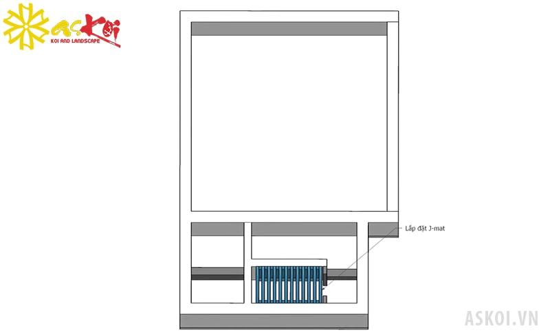 Hình ảnh ngăn chổi lọc nước trong bể lọc hồ koi