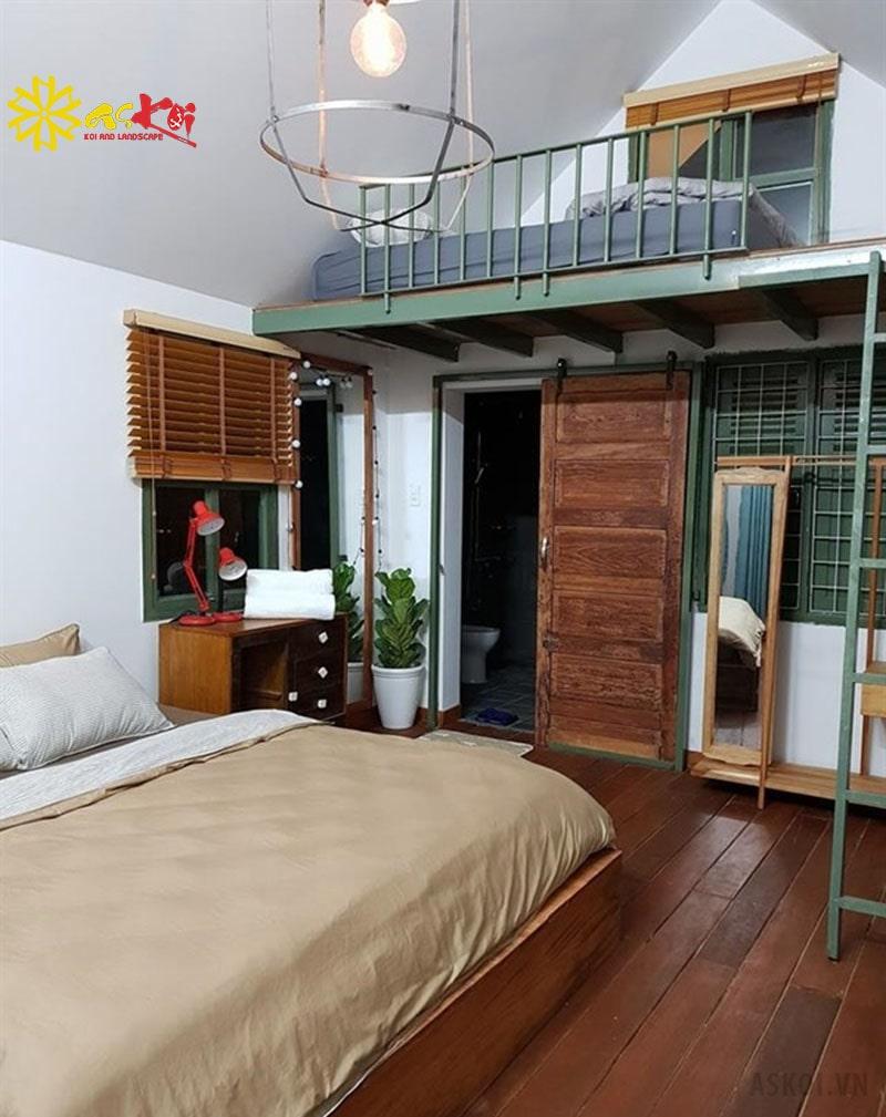 Phòng dorm với ánh sáng trắng